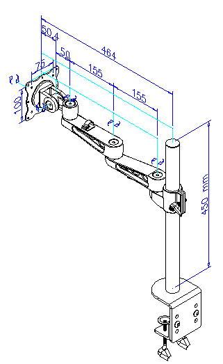 4軸式スウィベルモニターアーム 詳細図