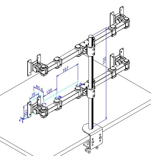 16軸式くねくね4モニターアーム MARMGUS12W
